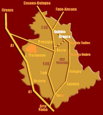 Contatti Agriturismo la Contessa Quarter Horse - mappa Umbria come raggiungerci